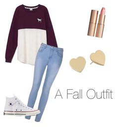 """""""Fall Outfit"""" by snowwhitequeen03 ❤ liked on Polyvore featuring Victoria's Secret, Ally Fashion, Charlotte Tilbury, Converse and Kate Spade"""