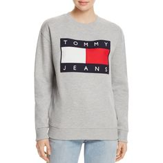 Tommy Jeans '90s Sweatshirt ($135) ❤ liked on Polyvore featuring tops, hoodies, sweatshirts, gray marl, gray top, marled sweatshirt, gray sweatshirt, tommy hilfiger sweatshirt and grey sweatshirt