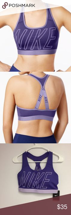 Nike Pro Medium Support V Back Sports Bra •Scoop neckline  •Pullover styling with racer back, V shaped elastic straps for improved support  •Medium Support sports bra. Compression fit •Removable pads  •Dri Fit technology  •Full Coverage •shell, mesh: polyester/spandex Machine Washable  Color: Dark Iris/Hydrangeas  🌻NO TRADES 🌻OFFERS WELCOMED! 🌻BUNDLE TO SAVE  🌻FEEL FREE TO ASK ANY QUESTIONS Nike Intimates & Sleepwear Bras