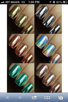 I can't get enough metallic nails! Fabulous Nails, Gorgeous Nails, Hot Nails, Hair And Nails, Minx Nails, Crome Nails, Uñas Fashion, Metallic Nails, Metallic Colors