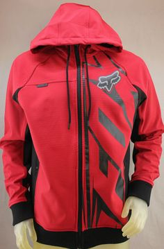 Fox Racing Fox Tech Bionic Flipside red jacket coat hoodie with black trim and black & gray Fox head logo