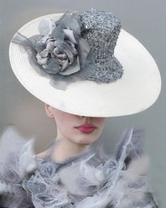 Cream and Dove Grey Sequined Silk Saucer Hat by NataliLouise, $280.00