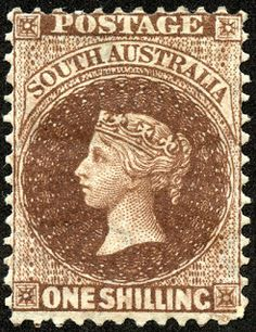 "1867 Scott 51 deep brown ""Victoria"" Quick History The colony was proclaimed on December intended for free immigrants, rat. Queen Vic, Rare Stamps, South Australia, Stamp Collecting, Postage Stamps, New Zealand, Deep Brown, History, Coins"