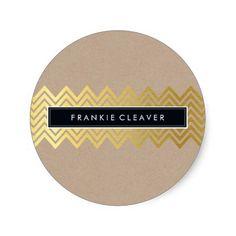 MODERN CHEVRON PATTERN trendy gold simple kraft Sticker