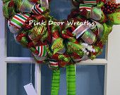 Only 1 left!! Made to Order - Wreath Door ELF LEGS hat cute CHRISTMAS red silver white lime green ribbons mesh