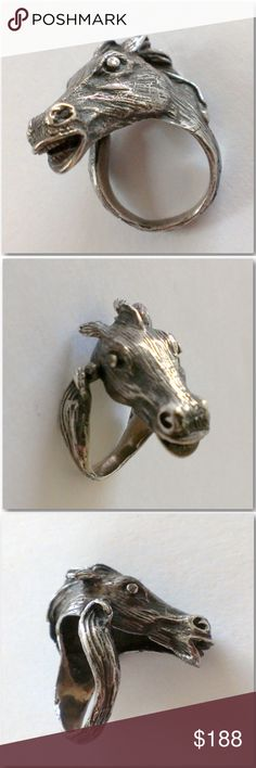 Vintage Artisan Sterling Silver 3D Horse Head Ring Fabulous Vintage Artisan Sterling Silver Horse Head Ring Hand Wrought & Beautifully Detailed With Dimensional Realistic Horse Head With Flowing Mane Bridle. This Captures The True Essence Of Their Rugged Elegance, Sleek Style, & Feeling Of Freedom They Inspire. Sits High On The Finger, A Statement Ring That Will Become Your Vintage To Go To Piece. Tested Positive For Sterling Silver. Makers Mark (Several Pictures Of). Horse symbolize Wealth…
