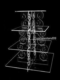 4 TIER SQUARE + VINE TYPE BRACKET ACRYLIC CUPCAKE PARTY WEDDING CAKE STAND(04-904) Wedding Cake Stands, Wedding Cakes, Party Wedding, Cake And Cupcake Stand, Cupcake Party, Laser Cut Lamps, Vides, Cake Craft, Steel Art
