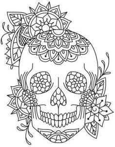 Sugar skull colouring in