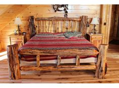Log bed frame. Our friends Callie & Justin have a bed frame like this!!! Love it. This is what we are planning on getting. But we want to get a smaller bed first! King is too big for us.