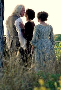 Lizzie kisses her father after being told he would not allow her marriage to Mr Collins