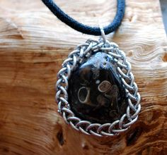 Fossil Turritella Agate Pendant Wrapped in by GeekyGaeaDesigns