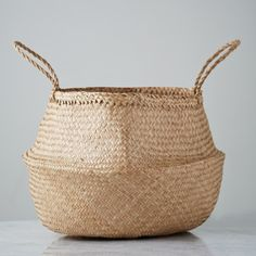Helen James Considered seagrass basket with twist handles from Considered by Helen James Artisan Food, Kitchen Linens, Cooking Utensils, Furniture Design, Sweet Home, Basket, Tableware, Wicker, Home