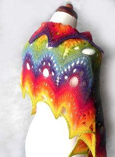 Rainbow Knitted Shawl