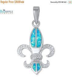 """1.2"""" Fleur De Lis Pendant Charm For Necklace Solid 925 Sterling Silver Lab Created Australian Blue Turquoise Opal Fleur De Lis Jewelry Gift"""