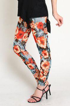 Flower print legging  / ShopStyle: (イーブス) 花柄レギンス