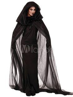 Traje de Fantasia de Halloween preto fantasma/espírito - Milanoo.com