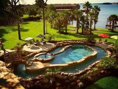 Lazy river pool and hot tub