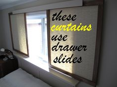 Instead of curtains, think outside the box with these sliding panels that function easily.