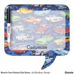 Shop Muscle Cars Pattern Dry Eraser Board created by BlueRose_Design. Bubble Style, Vintage Office, Dry Erase Board, Muscle Cars, Colorful Backgrounds, I Shop, Bubbles, Stationery, Boards