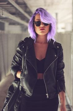 Black leather with awesome purple hair!
