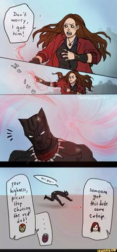 "Black panther, Scarlet Witch, ""laser pointer"""