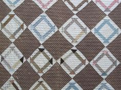 Mid-1800's ANTIQUE Quilt CHURN DASH Pattern  Hand Pieced Hand Quilted  Browns and Blues
