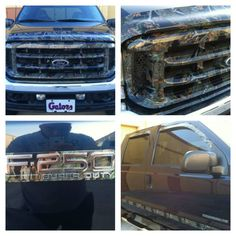 Camo bug guard, rain guards, grill, and emblems done over the custom color of the truck Hydro Dipping, Interior Wood Stain Colors, Camo Truck Accessories, Hydrographic Dipping, 4x4 Ford Ranger, Interior Window Sill, Hydro Graphics, Teen Driver, Application Design
