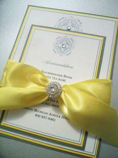 Simple Bliss--3 Layered Crystal Embellished Wedding Invitation With Large Embellished Bow-Custom Wedding Invitation