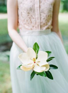 Elegant Wedding Bouquet Featuring A Single White Magnolia Bloom + Greenery/Foliage Wedding Bouquets, Wedding Flowers, Wedding Dresses, Wedding Stuff, Bridesmaid Dresses, Rosa Pink, Southern Belle, Southern Charm, Southern Living