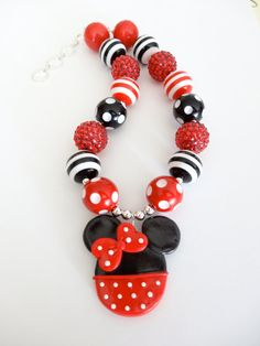 Minnie Mouse or Micky Mouse Chunky Bubblegum Necklace