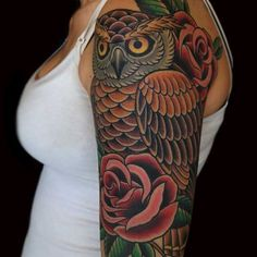 Top 15 Owl Tattoo Designs for Girls | Amazing Tattoo Ideas --Love the Traditional American Style of the roses