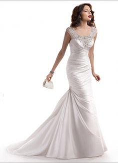 Great Chameuse Mermaid Sleeveless Scoop Neckline Chapel Trian Ruffles And Crystal Wedding Dress