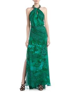 Snake-Print Beaded Halter Gown by Carmen Marc Valvo at Last Call by Neiman Marcus.