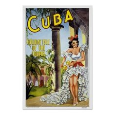 Vintage travel,Cuba Poster Zazzle_print