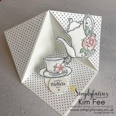 Time for Tea with Tea Together Stamp Set. Stampin' Up! - Time for Tea with Tea Together Stamp Set. Stampin' Up! – Simplyfairies Stampin' Up! Fun Fold Cards, Pop Up Cards, Folded Cards, Card Making Tutorials, Card Making Techniques, Karten Diy, Shaped Cards, Easel Cards, Stamping Up Cards