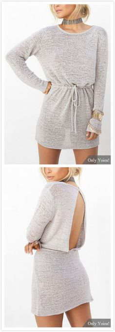 A fresh look will take on this knit mini dress and it is the right time to wear this kinds of dresses. Look at this mini dress which is designed with round neck, long sleeves, open back and drawstring waist. Team it up with boots is perfect.
