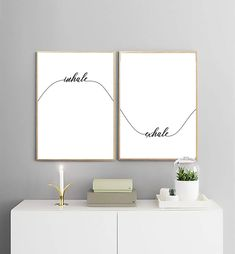 Inhale Exhale Print | Yoga Wall Decor | Calligraphy Wall Art | Breathing Illustration | Bedroom Decor | Wave Print | Printable Wall Art |