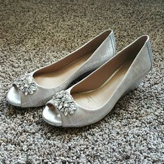 Antonio Melani wedges Silver peeptoe wedges with rhinestones on toe.  Only worn one time. ANTONIO MELANI Shoes