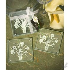 calla coaster favors