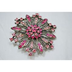 Pink Rhinestone Sliver Tone Brooch Retro Roll Over Clasp Brooch ($11) ❤ liked on Polyvore featuring jewelry, brooches, retro jewelry, pink brooch, pink jewelry, pink rhinestone brooch and clasp jewelry