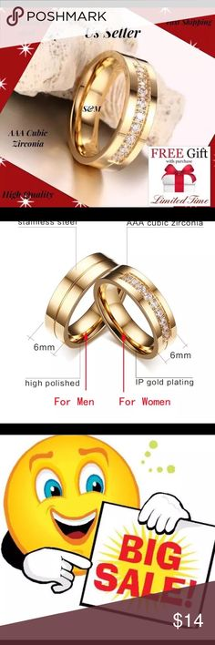 Gold plated stainless steel wedding women men ring %100 Brand New High Quality Buy With Confidence Material: 316L Stainless Steel Finishing: Brushed Size: 8,9,10,11 Color: Gol with chrstal Packet: 1 Ring + gift bag and Free Nano Microfiber cleaning cloth We are The New Seller But Best Seller Now Limited Time Promotion! When you buy this item Nano technolog Microfiber claening Cloth $19.99 value is free for you! Save your time and your money, dont buy any more detergent and paper towel for…