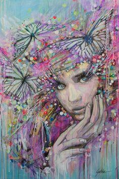 "Lykke Steenbach Josephsen; Mixed Media, 2013, Painting ""Butterfly boheme"""