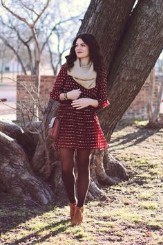 Beige / off-white knit scarf, burgundy dress with white polka dots, black tights, tan ankle boots