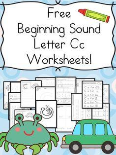 Preschool and Kindergarten Activities - Beginning Sounds Letter C Worksheets - Free and Fun! Letter C Worksheets, Letter C Activities, Phonics Worksheets, Reading Worksheets, Preschool Letters, Preschool Curriculum, Kids Learning Activities, Learning Letters, Kindergarten Worksheets