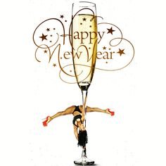 Pole Felons pole dancing on New Years champagne glasses