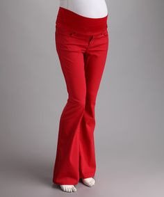 Red Mid-Belly Maternity Flare Pants by Fiory Naz