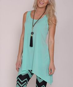 Another great find on #zulily! Aqua Sidetail Sleeveless Tunic by Lbisse #zulilyfinds