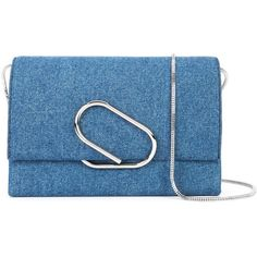 3.1 Phillip Lim Alix Soft Denim Clutch (2.585 BRL) ❤ liked on Polyvore featuring bags, handbags, clutches, 3.1 phillip lim purse, denim handbags, denim purse, 3.1 phillip lim handbags and chain strap purse