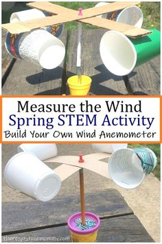 Learn how to build a wind meter (wind anemometer) and measure the wind with this spring STEM activity for kids. # stem activities for kids DIY Wind Meter STEM Activity Weather Activities For Kids, Steam Activities, Spring Activities, Toddler Activities, Weather For Kids, Weather Crafts, Childcare Activities, Weather Unit, Educational Activities For Kids
