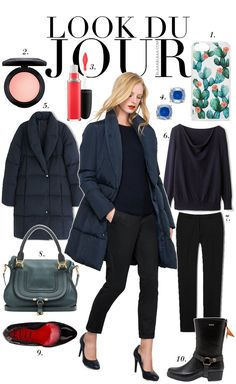 Look Du Jour: Schwarz zu blau. Navy sweater+black ankle pants+black midi boots or pumps+black handbag+navy quilted coat. Fall Casual Business Outfit 2016